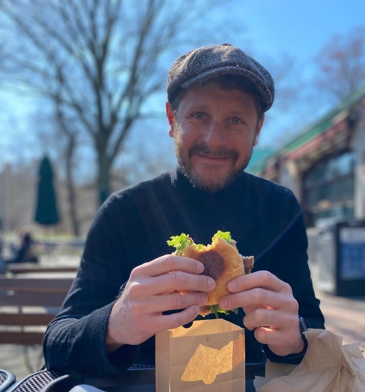 Me, eating a burger in Central Park